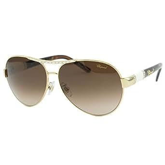 Chopard SCH-A59 300 Women Gold & Brown Crystals Embellished Aviator Sunglasses