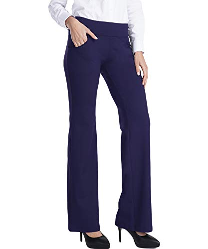 Balleay Art Women's Stretch Bootcut Yoga Pants - Non See-Through Flared Bootleg Long Workout Pants with Pockets, Blue L