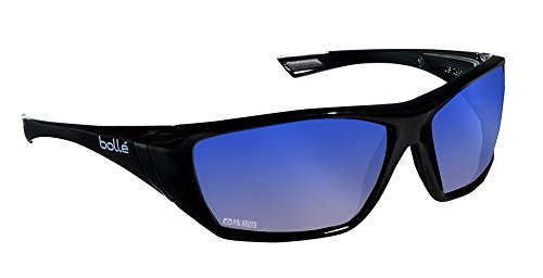 Bolle Safety HUSTLER Safety Glasses with Grey Blue Flash Mirror Lens and Shiny Black Frame by Bolle (Image #1)