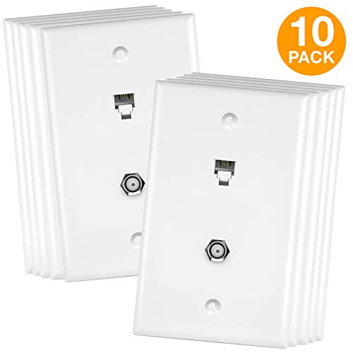 ENERLITES Combination Coaxial TV Cable / RJ11 Telephone Jack Wall Plate, F-Type F81 Connector, 6-Position 4-Conductor (2-Line Support), 1-Gang 4.50