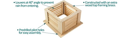 Good Directions Manchester Louvered Cupola with Pure Copper Roof, Cypress Wood, 18'' x 22'', Quick Ship, Reinforced Rafters and Louvers, Cupolas by Good Directions (Image #3)