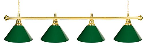 72' Pool Table Light - Billiard Lamp Brass Rod Choose Burgundy , Green or Black Metal Shades (brass green)