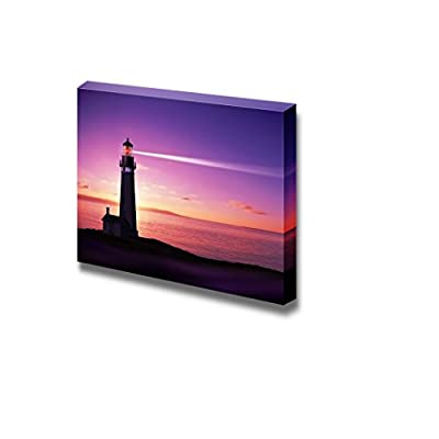 Beautiful Scenery Landscape Lighthouse Searchlight Beam Through Marine Air at Night - Canvas Art Wall Art - 24