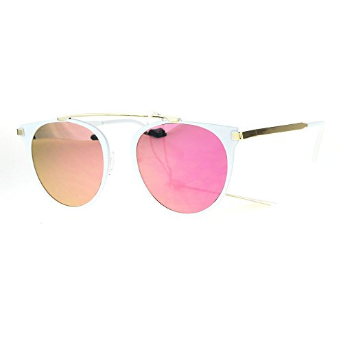 Bridgeless Retro Flat Lens Metal Horn Rim Vintage Sunglasses White Pink