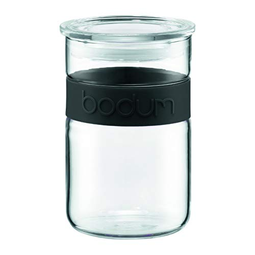 Bodum Presso 20-Ounce Glass Storage Jar, Black Bodum Glass Storage Jars