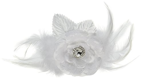 Lillian Rose Vintage Lace White Feather Hair Clip Accesso...