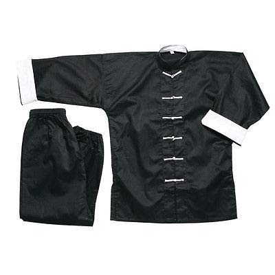 Ace Martial Arts Supply 100% Cotton Kung Fu Uniform -All Black, All White, and Black with White Cuffs (White Cuff Black with White Knot, 2)