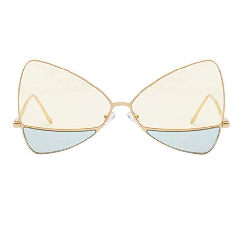 Bleu En Eye Surdimensionné Lunettes De La Mode Jaune Cadre UV Cat Triangle Métal Double Lentille Protection Soleil À Lunettes 14qUZ1xPw
