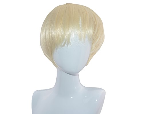 Blonde Wig Male (Wowlife New Style Punk Style Cool Male Straight Wig Man Short Platinum Blonde Rice White Straight Wig)