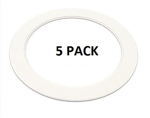 "5 Pack-White Light Trim Ring Recessed Can 6"" Inch Over Size"