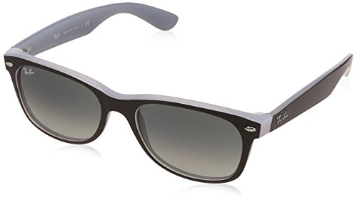 Ray-Ban Men's New Wayfarer Square Sunglasses, Matte Black on Opal Ice, 58 - Black Wayfarer Sunglasses Matte