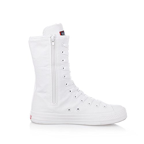 Women's frist up increased Punk Super Dancing Tall Lace Boots Canvas White UaZZqw