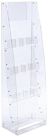 Displays2go Floor Standing Literature Rack, 4-Tier, 8 Dividable Pockets (ADJLSTDCL) - Pocket Literature Floor Display