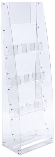 Displays2go Floor Standing Literature Rack, 4-Tier, 8 Dividable Pockets (ADJLSTDCL) by Displays2go