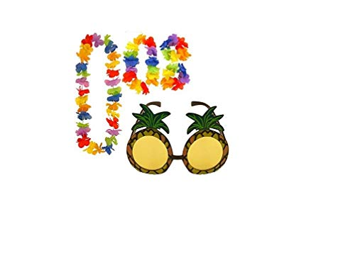 Pineapple Sunglasses /& 4pc Hula Lei Flower Garland Hawaiian Party Fancy Set