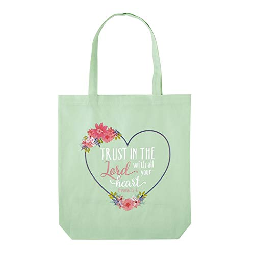 Christian Religious Tote Bag - Trust In The Lord With All Your Heart Proverbs 3:5-6 Bible Verse Tote Bag