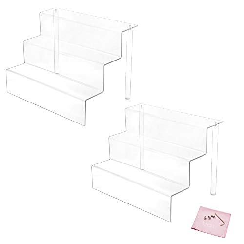 Combination of Life 3 Steps Acrylic Riser Display Shelf for Amiibo Funko Pops Figures Clear 9 inches W by 6.25 inches D