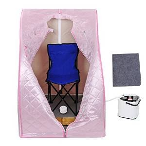 2L Portable Personal Steam Sauna Tent SPA Detox Weight Loss Stress Fatigue Power 110 Volts w/ Folding Chair Pink Herbal Box for Relax Foot Massager Fitness Enthusiasts by Generic (Image #7)