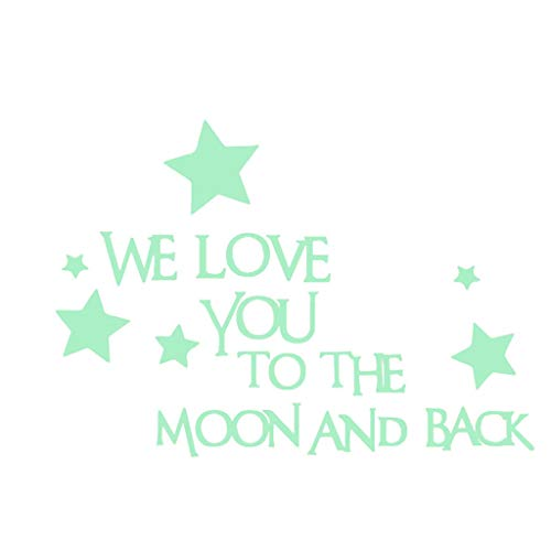 Paradise8 We Love You to The Moon and Back 3D Star Glow in The Dark Luminous Wall Stickers for Baby Kids Bedroom (Turtle To The Window To The Wall)
