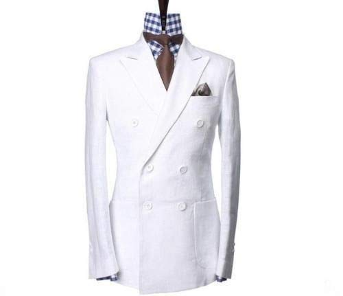 Men White Cotton Linen White Double Breasted Blazer Jacket with Pants Wedding Groomsmen Summer Suits