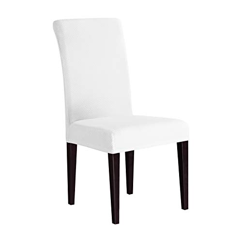 Subrtex Dining Room Slipcovers Sets Stretch Removable Chair Furniture Protect Washable Elastic Seat Cover (6, White Knit) (Dining Chair Covers White)