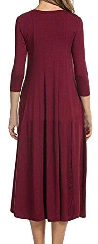 Metà Girocollo Del Pieghettato Vino Cotone Womens Orlo Manica 4 Rosso Solido Colore Vestito Di 3 Cromoncent XnH7HUF