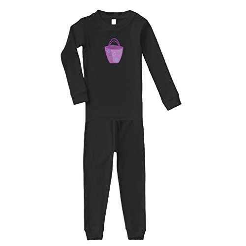 Purple Purse Cotton Long Sleeve Crewneck Unisex Infant Sleepwear Pajama 2 Pcs Set Top and Pant - Black, 5/6T by Cute Rascals