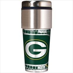 Green Bay Packers 16 oz Travel Tumbler with Metallic Wrap