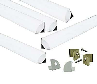 Muzata Aluminum Channel For Led Strip Light With Milky White Curved Diffuser Cover, End Caps, and Mounting Clips, Right Angle Aluminum Profile, V-Shape, 5-Pack 3.3ft/1M