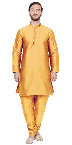 SKAVIJ Men's Tunic Kurta Pajama Anniversary Dress (Medium, Gold)