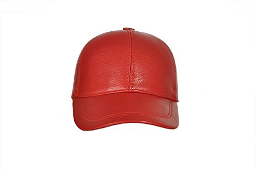 Sheepskin Cap - CIAO VESTITI Unixex Adjustable Genuine Leather Baseball Cap Hat, Assembled in USA (Red)