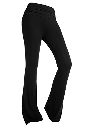 BAISHENGGT Damen Lange Stretch Lagenlook Schlaghose Yogahose Hose Schwarz Large
