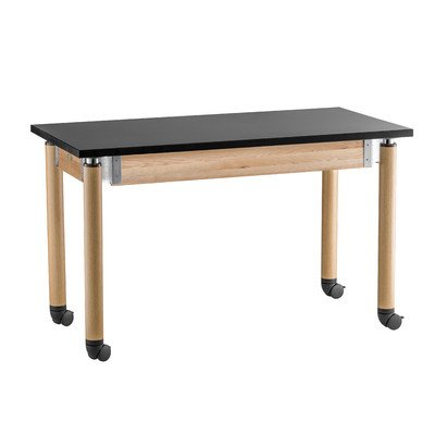 Adjustable Height Science Lab Table with Casters Size: 29'' H x 48'' W x 24'' D, Leg Color: Oak by National Public Seating