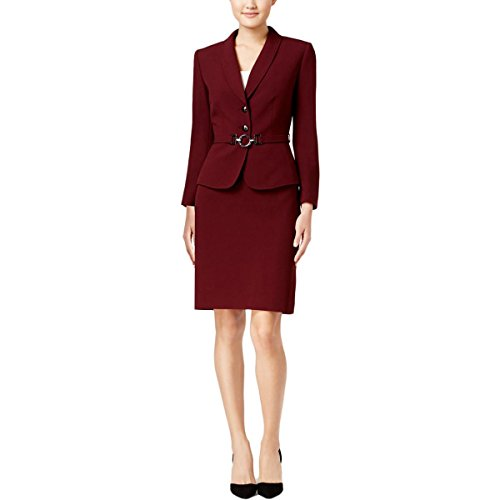 Belted Suit (Tahari Womens 2PC Belted Skirt Suit Red 18)