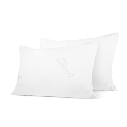 Zen Bamboo Ultra Plush Gel Pillow - (2 Pack King) Premium Gel Fiber Pillow with Cool & Breathable Bamboo Cover - Dust Mite Resistant & Hypoallergenic