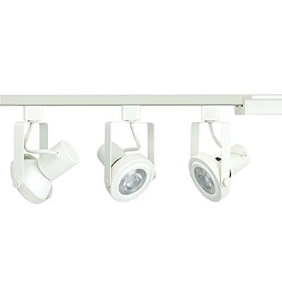 Direct-Lighting 3-Light PAR30 LED Gimbal Ring Track Lighting Kit, White, BULB INCLUDED