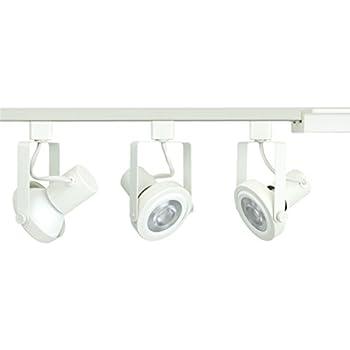 track lighting white. Direct-Lighting 3-Light PAR30 LED Gimbal Ring Track Lighting Kit, White, White N