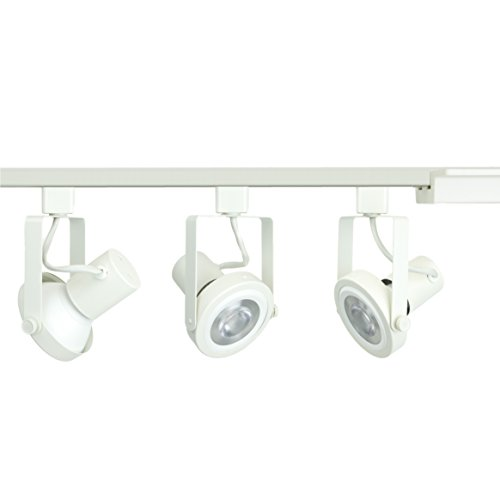 White Gimbal Track Head - Direct-Lighting 3-Light PAR30 LED Gimbal Ring Track Lighting Kit - White Finished - Bulbs Included.