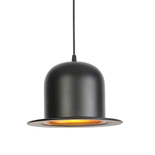 (MYXMY Vintage Modern Industrial Farmhouse Lighting Fixture,Matte Black Shade Creative Hat Design Pendant Living Room Bedroom Kitchen Decor Ceiling E27 Chandeliers)
