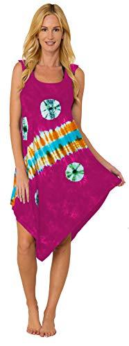 - INGEAR Summer Casual Crochet Sleeveless Loose Handkerchief Beach Cover Up Dress (Pink, Small/Medium)