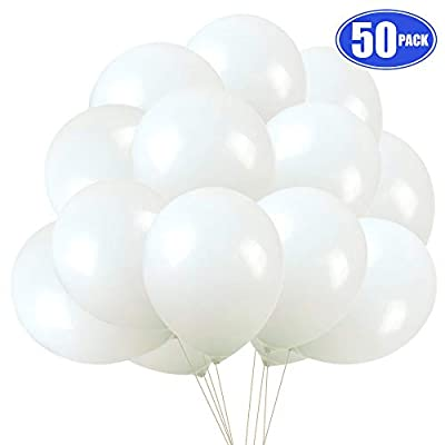 White Balloons Latex Party Balloons, 50 pack 12 Inches Helium balloons for Wedding Birthday Party Decorations: Toys & Games