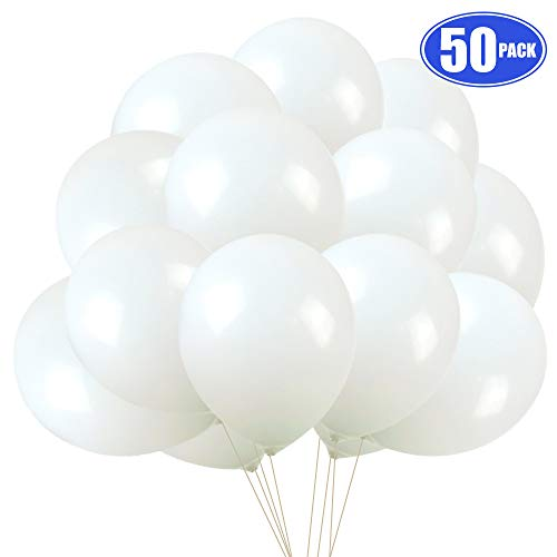 (White Pearl Balloons 50 pack, 12 Inches Latex Party Balloons for Wedding Birthday Baby Shower Decorations)