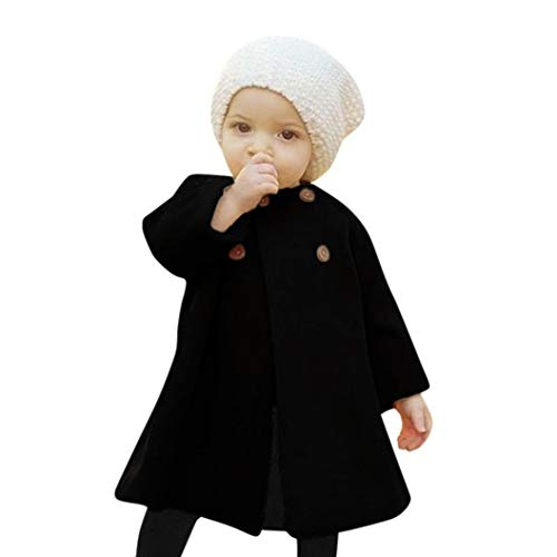 0-5T Autumn Winter Kids Baby Girls Solid Outwear Cloak Cape Button Jacket Warm Fashion Woolen Coat Trench Clothes (Black, 18-24 Months)