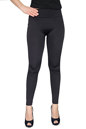 Solid Soft Seamless Stretchy Women's Fleece Leggings - Wide Waistband. Many Colors (Black - Fleece),One (Seamless Capri Leggings)