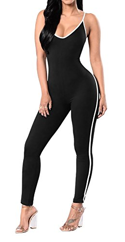 One Piece Outfit (Jescakoo Women's Spaghetti Strap Bodycon Tank One Piece Jumpsuit Rompers Bodysuit Black L)