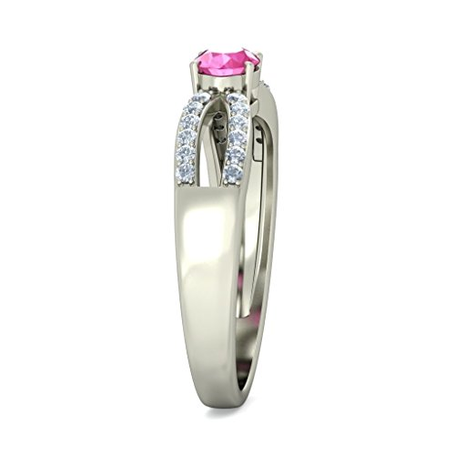 Or blanc 14K, 0,12carat Diamant Blanc (IJ | SI) Saphir rose et diamant Bague
