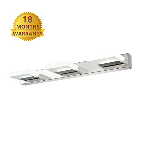 Modern 12 Light (mirrea 12W Modern LED Vanity Light in 3 Lights, Stainless Steel and Acrylic, Cold White)