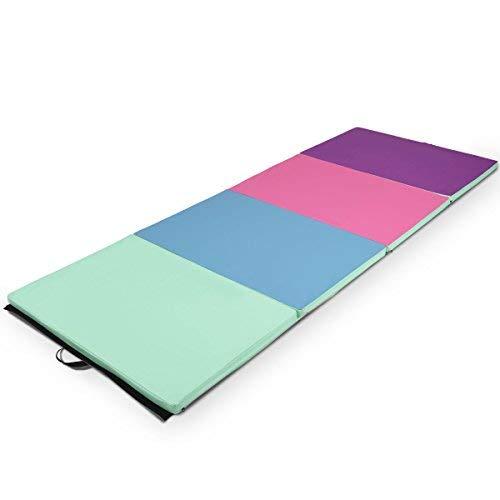 Giantex 4'x8'x2 Gymnastics Mat Folding PU Panel Gym Fitness Exercise (Green/Blue/Pink/Purple)