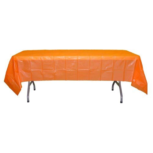12-Pack Premium Plastic Tablecloth 54in. x 108in. Rectangle Table Cover - Orange]()
