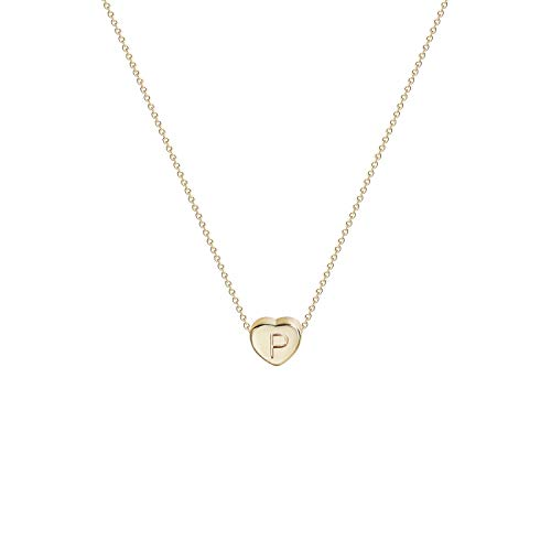 Tiny Gold Initial Heart Necklace-14K Gold Filled Handmade Dainty Personalized Letter P Heart Choker Necklace Gift for Women Kids Child Alphabet Necklace Jewelry (P)
